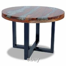 USA Solid Teak Wood Coffee Table Resin Handmade Paint Finish Side End Couch