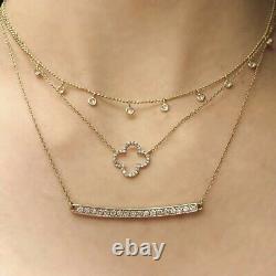 14ctw Diamond 14k Collier De Trèfle D'or Blanc 16 Chaîne Fabriqué À La Main Aux États-unis Nouveaut Tags