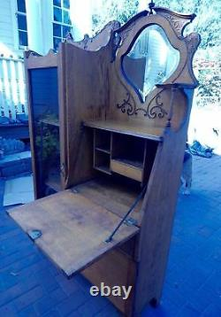 1920 Honey Oak Secretary Side By Side Desk 66 3/4 Hauteur