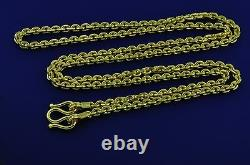 24k 9999 Solid Yellow Gold Necklace 37.50 Gram Anchor Chain Handmade Made In USA