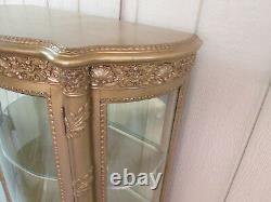 56312 Hollywood Regency Bow Glass Curio Cabinet Chine Vernis Martin Vitrine