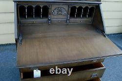 56351 Antique Ahogany Secrétaire Bureau Avec Bibliothèque Top