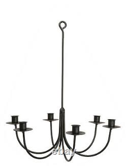 6 Arm Wrought Iron Candle Chandelier Amish Pays Fait Main Candelabra USA