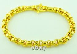 9999 24k Solid Yellow Gold Bracelet Rolo Fait Main 8 Pouces 34,50 Grammes Etats-unis