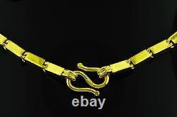 9999 24k Yellow Gold Baht Boîte Collier De Chaîne À La Main Aux Etats-unis 46,00 Grammes
