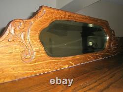 Antique Larkin Co Chêne Chine Cabinet Incurvé Verre Dosseret Avec Miroir Biseauté