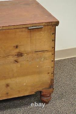 Antique Pennsylvania Dovetailed Red Painted Rustic Primitive Blanket Chest Trunk