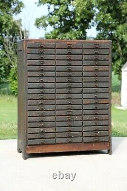 Armoire Apothécaire Antique 54 Tiroir Chêne Bois Industriel Hardware Store Armoire