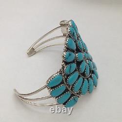 Bracelet En Argent Sterling Navajo Fait Main Large Cluster Turquoise & Coral Cuff