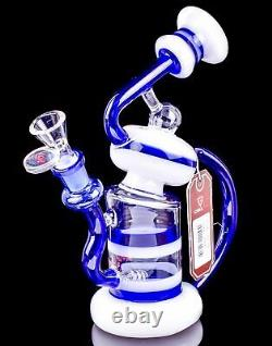 Chill Glass 2 Bras Recycler Inline Bong Blue Unique Helix Hookah Water Pipe USA
