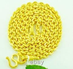 Collier 9999 24k Yellow Gold Anchor Chaîne Faite À La Main Aux États-unis 75,00 Grammes 24 Pouces