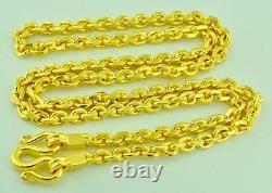 Collier D'or Jaune 24k 75.00 Gram Solid Chain Lien D'ancrage Fait À La Main Aux Etats-unis