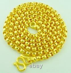 Collier En Or Jaune 24k 45.60 Gram Solid Chain Rolo Lien Fabriqué À La Main Aux Etats-unis