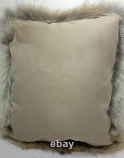 Coyote Fur Oreiller Real Full Skin Coussin En Fourrure Fabriqué Aux États-unis Insert Inclus