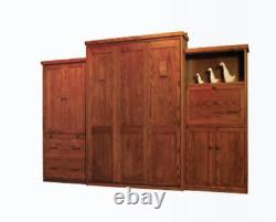 Custom Built USA Hand Made To Order Queen Wall Bed Solid Wood Murphy Bed