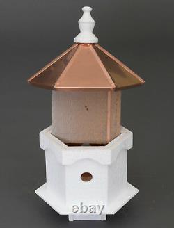 Double Bluebird House 2 Pièces En Cuivre Top Post Mount Birdhouse Amish Handmade USA