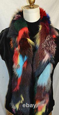 Écharpe En Fourrure De Renard Réel Boa Multi Couleur Nouveau Fabriqué Aux États-unis
