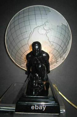 Frankart Sarsaparilla Art Déco Atlas Avec Le Verre D'ombre De Terre Lampe Noire USA Made