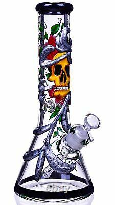 Grim Reaper 13 Skull Tuyau D'eau En Verre Thick Beaker Bong Hookah Unique USA