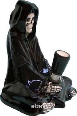 Grim Reaper Skull Water Hookah Bong Tuyau De Tabac En Céramique En Verre 1820 Fabriqué Aux États-unis