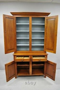 Haute Antique19th Century Pine Wood Blind Doors Step Back Armoire Hutch Cabinet