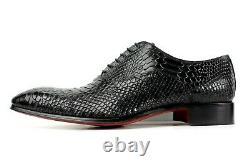Ivan Troy George Noir Crocodile Fait Main Hommes Italien Robe En Cuir Chaussures Oxford
