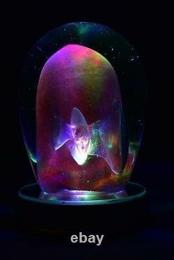 Labino Glass Dominick 1983 Blue/pink Veil Rendez-vous Art Glass Sculpture