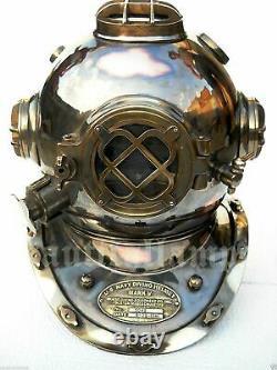 Laiton Ancien U. S Marine Mark V Taille Full Deep Sea Plongée Plongeurs Casque De Plongée Gif