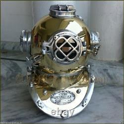 Laiton Antique Plongée Plongeur En Mer Profonde Casque Mark V U. S Marine Vintage 18