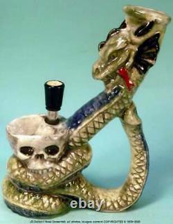 Magic Fantasy Dragon Skull Céramique Rumph Water Hookah Bong Tobacco Pipe 1875 USA