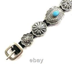 Native American Navajo Handmade Sterling Argent Concho Turquoise Cuir Bracele