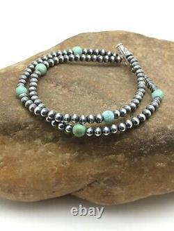 Native American Navajo Pearls Sterling Argent Bleu Bracelet Turquoise Cadeau 378
