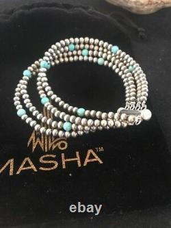 Native American Navajo Pearls Sterling Argent Bleu Turquoise Bracelet Cadeau 4 St