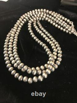 Native American Sterling Silver Navajo Pearls 7 MM Collier 21 3 Strand Gift