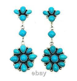 Navajo Handmade Argent Sterling Dormant Beauté Turquoise Post Boucles D'oreilles