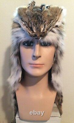 New Bob Cat Mountain Man Fur Hat Avec Face Made Aux Usa. Four/pelte/peau/cuir