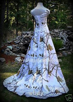 New Camo Wedding Gown/realtree Ou Mossy Oak Satin'abigail' Made Uniquement Aux USA