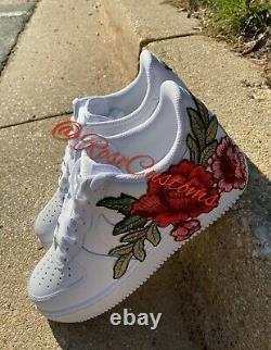 Nike Air Force 1 07 Basse Rose Rouge Fleur Florale Blanc Chaussures Sur Mesure Toutes Les Tailles