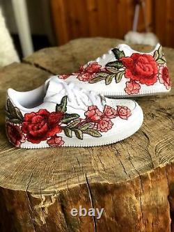 Nike Air Force 1 07 Faible Hommes Rouge Blanc Rose Fleur Florale Chaussures Personnalisées Taille 12