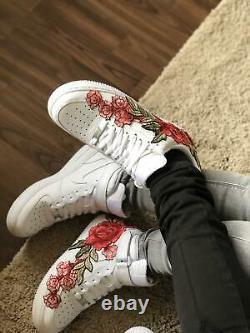 Nike Air Force 1 07 Faible Hommes Rouge Blanc Rose Fleur Florale Chaussures Personnalisées Taille 13