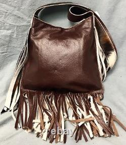 Raviani Crossbody Fringe Bag Withcristal Concho Brindle Cuir Made In USA