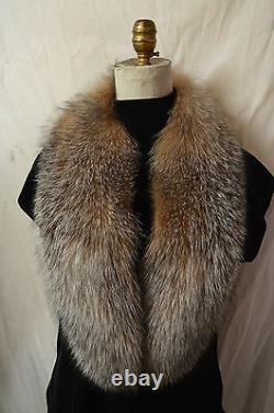 Real Crystal Fox Fur Collar Hommes Femmes Détachable Nouveau Fabriqué Aux États-unis Authentique