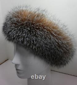 Real Crystal Fox Fur Headband New (made In The U.s. A.) Authentique Authentique