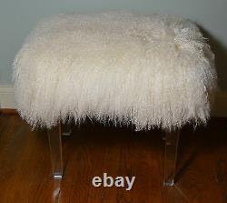 Real Natural White Mongol Lamb Fur Tabouret Pieds Acryliques Tibet Banc Ottoman USA