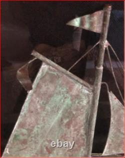Sailboat Copper Weathervane Top Sail Boat 21.5x21.5x3.75 Vintage Handmade Décor