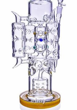 Tall 20 Thick Triple Chamber Bong Heavy Tuyau D'eau En Verre Big Hookah Yellowusa