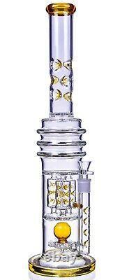 Thick 22 Tall Sprinkler Bong Amber Heavy Tuyau D'eau En Verre Cool Hookah USA