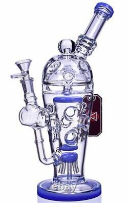 Thick Chill Glass 13 Heavy Sprinkler Blue Bong Unique Hookah Cool Bubbler USA