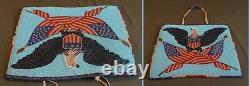 Très Fine 1928 Amérindienne Yakima Perled Bag Patriotique Eagle U. S. Drapeau