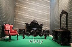 USA King 76x80 Gothic Matt Black Designer Baroque Style Français Acajou Lit